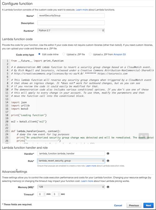 Configure the Lambda function
