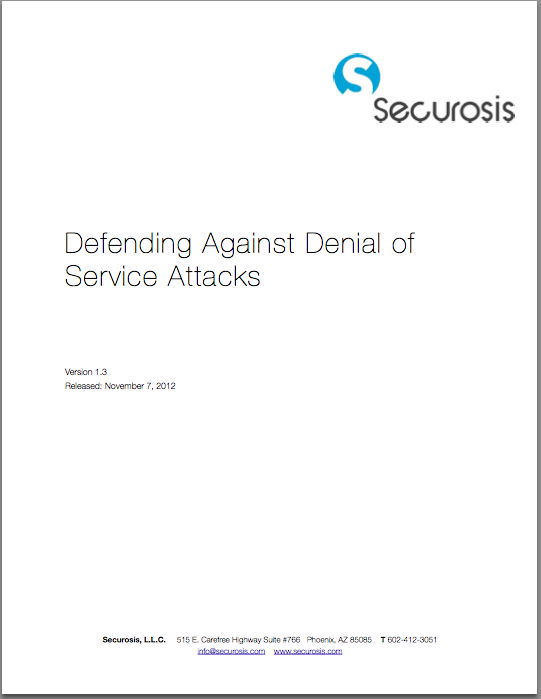 ... Research Paper: Defending Against Application Denial of Service