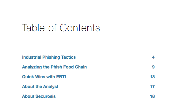 EBTI Table of Contents