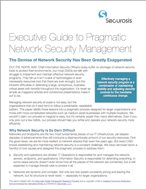 Pragmatic Network Security Management