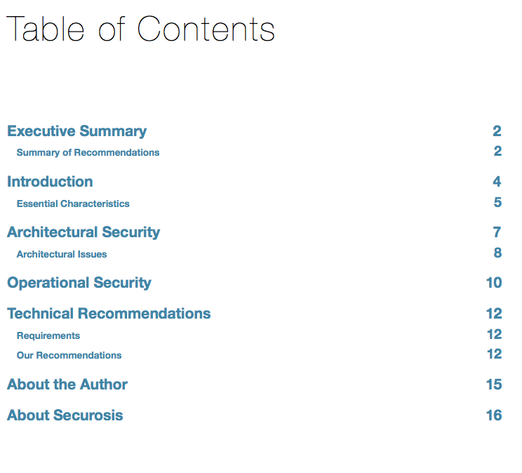 Securing Big Data Table of Contents